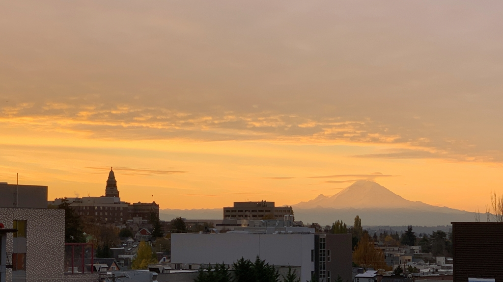 sunrise in Seattle, looking out to Mount Rainier in the distance
